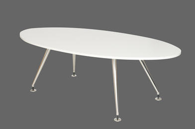 White Oval Boardroom Table